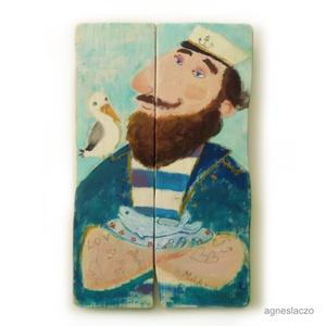 Vacsorára halat !, Otthon & lakás, Lakberendezés, Képzőművészet, Falikép, Famegmunkálás, Festészet, Egyedi, rusztikus festett fa.\nfalra akaszthato.\n\nkb. 31 x 50 cm.\nA szinek elterhetnek a monitor beal..., Meska
