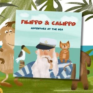 Filippo és Calippo  Kaland a tengeren Angol nyelvű képeskönyv, Gyerek & játék, Egyéb, Gyerekszoba, Fotó, grafika, rajz, illusztráció, Megjelent angol nyelvu mesekonyvem, ami baratsagrol es batorsagrol szol. Ajanlom azoknak a gyerekek..., Meska