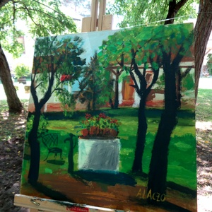 Kerti kút, Otthon & lakás, Képzőművészet, Festmény, Lakberendezés, Festészet, Fotó, grafika, rajz, illusztráció, Eredeti akrilik festmenyem, faroston.\nA sajat udvarunkat festettem meg ezen \na szep nyari reggelen :..., Meska