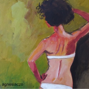 Háttal álló nő - tanulmány , Akril, Festmény, Művészet, Festészet, Fotó, grafika, rajz, illusztráció, INGYENES POSTA\n\nEredeti akrilik festmenyem, faroston.\n\nMeret : kb 21.5  x 21.5 cm.\nA szinek elterhet..., Meska