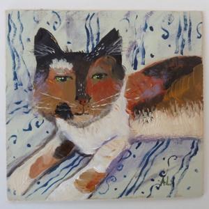 Cseresznye a cica, Akril, Festmény, Művészet, Festészet, Fotó, grafika, rajz, illusztráció, INGYENES POSTA\n\nEredeti akrilik festmenyem, faroston.\n\nMeret : kb 18.5  x 18 cm.\nA szinek elterhetne..., Meska