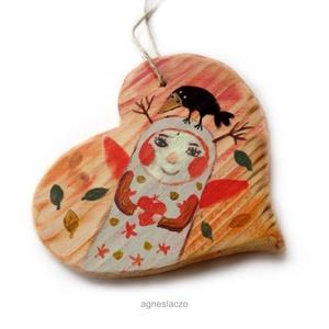 Őszi hangulat varjúval, Otthon & lakás, Dekoráció, Dísz, Lakberendezés, Ingyenes posta! Egyedi, rusztikus fa dekoracio. falra akaszthato. kb.  15.5 cm.  A szinek elterhetne..., Meska