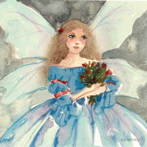 Fairy , Otthon & lakás, Lakberendezés, Képzőművészet, Festmény, Akvarell, Eredeti akvarell festmenyem papiron. Meret : A4 A szinek elterhetnek a monitor beallitasnak megfelel..., Meska