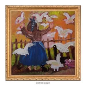 Margit néni , Otthon & lakás, Lakberendezés, Képzőművészet, Festmény, Eredeti akrilik festmenyem faroston. Meret kb : 22 x 21.5 cm. A szinek elterhetnek a monitor beallit..., Meska