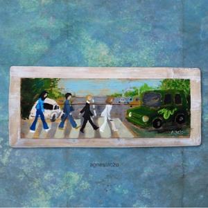 Beatles, Festmény vegyes technika, Festmény, Művészet, Festett tárgyak, Újrahasznosított alapanyagból készült termékek, INGYENES POSTA !\n\nEgyedi, rusztikus fa dekoracio.\nkb. 28 x 67 cm. \nA szinek elterhetnek a monitor be..., Meska