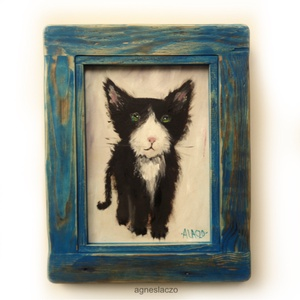 Fekete - fehér cica, Művészet, INGYENES POSTA !  Eredeti akrilik festmenyem rusztikus keretben.  A szinek elterhetnek a monitor bea..., Meska