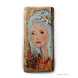 Lány virággal AKCIOS!, Otthon & Lakás, Dekoráció, Falra akasztható dekor, Festészet, Fotó, grafika, rajz, illusztráció, Meska
