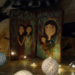 A testvérlányok, Otthon & Lakás, Karácsony & Mikulás, Karácsonyi dekoráció, Újrahasznosított alapanyagból készült termékek, Festett tárgyak, Ingyenes postakoltseg.\n\nEgyedi, kezzel festett, rusztikus fa ikon.\nNyithato, csukhato.\nMagassaga kb...., Meska