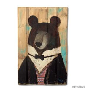 Mr. Brumm , Művészet, Festmény vegyes technika, Festmény, INGYENES POSTA  Rusztikus fara festett acrylic festmeny.  falra akaszthato.  kb. 40.5 x 63.5 cm.  A ..., Meska