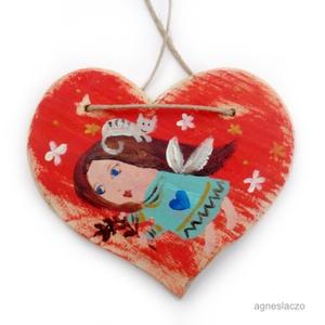 Angyalka + cica, Karácsony & Mikulás, Karácsonyi dekoráció, Rusztikus fa dekoracio. Falra akaszthato. kb. 15 cm.  + akaszto. A szinek elterhetnek a monitor beal..., Meska
