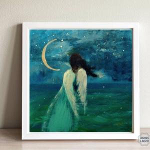 Tenger , Művészet, Festmény, Akril, Fotó, grafika, rajz, illusztráció, Festészet, INGYENES POSTA\nEgyedi akrilik festmenyem faroston.\nMerete kb 16 x 16 cm.\nA szinek elterhetnek a moni..., Meska