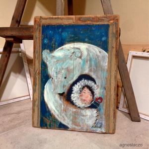 Nanuk, Művészet, Festmény, Akril, INGYENES POSTA  Rusztikus fara festett acrylic festmeny.  falra akaszthato.  kb. 46 x 61 cm.  A szin..., Meska