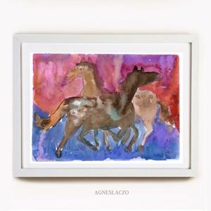 Lovak ( vízfesték), Művészet, Festmény, Akvarell, Festészet, Fotó, grafika, rajz, illusztráció, Eredeti vizfestek festmenyem papiron.\nMeret :  24 x 18 cm\nA szinek elterhetnek a monitor beallitasna..., Meska