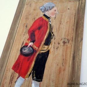 """A gróf, Otthon & Lakás, Dekoráció, Falra akasztható dekor, Famegmunkálás, Festészet, Rusztikus fa tablara festett akril kep.\nkb. 58.5 x 31.5 cm.\nA fa \""""kerete\"""" arannyal van festve, ami e..., Meska"""