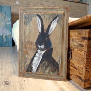 Mr Nyúl , Művészet, Festmény, Napi festmény, Festészet, Famegmunkálás, Egyedi, nagyon regi, rusztikus fara festett acrylic festmeny. \nfalra akaszthato.\n\nkb. 45 x 65 cm. \nA..., Meska