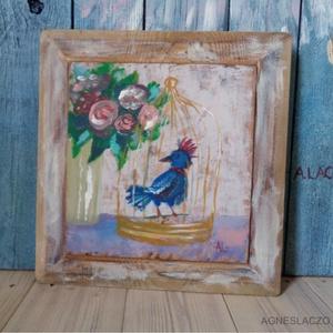 Aranykalitka, Művészet, Festmény, Akril, Famegmunkálás, Festészet, Egyedi rusztikus fa dekoracio.\nkb. 31.5 x 32.5 cm  Hatuljan akaszto.\nA szinek elterhetnek a monitor ..., Meska