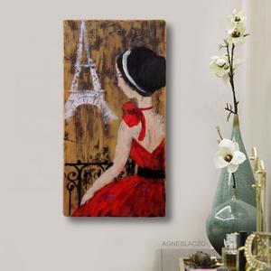 Valentin nap Párizsban, Művészet, Festmény, Akril, Festett tárgyak, Újrahasznosított alapanyagból készült termékek, INGYENES POSTA!\n\nEgyedi, rusztikus fa dekoracio.\nfalra akaszthato.\nA szinek elterhetnek a monitor be..., Meska