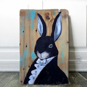 Mr Nyúl fivére, Otthon & Lakás, Dekoráció, Falra akasztható dekor, Festészet, Famegmunkálás, Egyedi, rusztikus fa dekoracio.\nfalra akaszthato.\n\nkb. 25 x 38 cm. \nA szinek elterhetnek a monitor b..., Meska