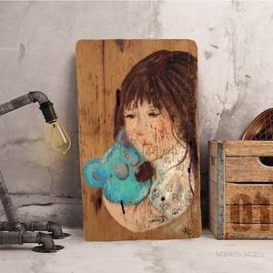 Minden rendben maci!, Otthon & Lakás, Dekoráció, Falra akasztható dekor, Festészet, Újrahasznosított alapanyagból készült termékek, Eredeti akrilik festmenyem, rusztikus fara festve.\nFalra akaszthato.\nMeret : kb 24.5 x 40 cm. kb 2.5..., Meska