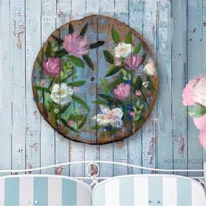 Cottage flowers, Otthon & Lakás, Dekoráció, Falra akasztható dekor, Festészet, Újrahasznosított alapanyagból készült termékek, Meska
