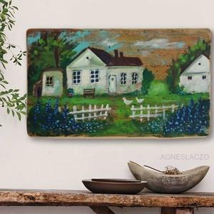 Nefelejts!, Otthon & Lakás, Dekoráció, Kép & Falikép, Festészet, Újrahasznosított alapanyagból készült termékek, Egyedi, akrilik festmeny rusztikus fara festve.\nA szinek elterhetnek a monitor beallitasnak megfelel..., Meska