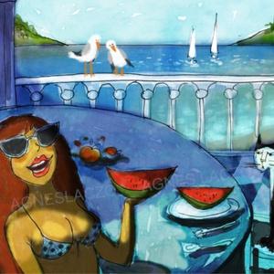 Nyár és dinnye, Művészet, Művészi nyomat, Fotó, grafika, rajz, illusztráció, Festészet, Meska