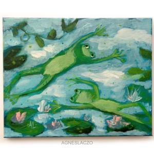 Nagyon boldog nyári békák, Művészet, Festmény, Akril, Festészet, Fotó, grafika, rajz, illusztráció, Meska