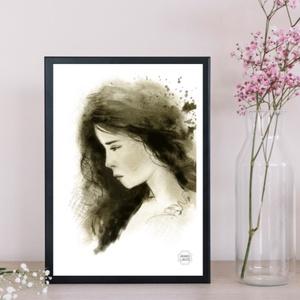Mire gondol a lány..., Művészet, Művészi nyomat, Fotó, grafika, rajz, illusztráció, Festészet, Meska