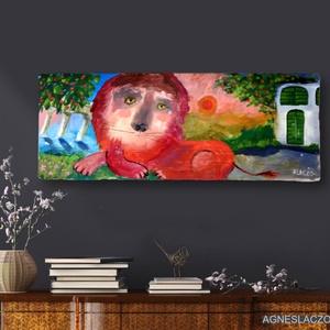 Augusztus, Művészet, Festmény, Festmény vegyes technika,  Rusztikus fara festett acrylic festmeny.  falra akaszthato. A szinek elterhetnek a monitor beallita..., Meska