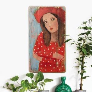 Piros rúzs, Művészet, Festmény, Festmény vegyes technika, Festészet, Újrahasznosított alapanyagból készült termékek, Meska