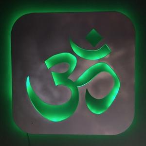 Om vagy Aum - hindu mantra, szimbólum,  fali dekor ledes háttérfénnyel, Otthon & lakás, Dekoráció, Kép, Lakberendezés, Falikép, Lámpa, Hangulatlámpa, Famegmunkálás, Festészet, Om vagy Aum - hindu mantra, szimbólum,  fali dekor ledes háttérfénnyel. \nMérete: 80x80 cm\nA mellékel..., Meska
