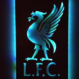 Liverpool - falikép és hangulatvilágítás, Otthon & Lakás, Lámpa, Hangulatlámpa, Festett tárgyak, Famegmunkálás, Liverpool - fanatikusoknak készített fali dekoráció ledes hattérvilágítással. A fény színét és erejé..., Meska