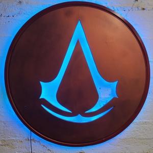 Assassin\'s Creed falikép világítással, Kép & Falikép, Dekoráció, Otthon & Lakás, Festett tárgyak, Famegmunkálás, Assassin\'s Creed rajongóknak falikép és hangulatvilágítás egyben. A temékhez távirányító és trafó ta..., Meska