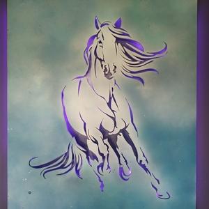 Vágtázó ló - falikép ledes háttérfénnyel, Otthon & lakás, Dekoráció, Kép, Lakberendezés, Falikép, Lámpa, Hangulatlámpa, Festett tárgyak, Famegmunkálás, Vágtázó lovat ábrázoló falikép, áttört figurával. A mellékelt távirányítóval 24 féle szín közül lehe..., Meska