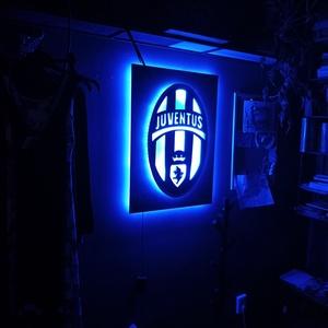 Juventus classic - világító fali dekor, Otthon & Lakás, Dekoráció, Falra akasztható dekor, Festett tárgyak, Meska