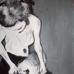 A lány és a mopszli, Otthon & lakás, Képzőművészet, Festmény, Olajfestmény, Festészet, Mi lehetne tartósabb egy ember-kutya barátságnál? Ha van kutyusod, akkor bizonyára te is tudod, hogy..., Meska