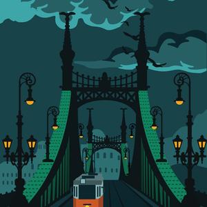 Budapest Szabadság híd poszter, Otthon & lakás, Képzőművészet, Illusztráció, Lakberendezés, Falikép, Fotó, grafika, rajz, illusztráció, Imádod a Szabadság híd varázslatosságát, és a budapesti utcaképek látványa is feltüzel? Akkor ez a p..., Meska