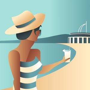 RETRÓ VELENCEI KORZÓ művész poszter , Otthon & lakás, Képzőművészet, Illusztráció, Lakberendezés, Falikép, Fotó, grafika, rajz, illusztráció, Csobbanj minden nap a Velencei tóba, és érezd a korzó nyári hangulatát ezzel a retró hatású, minimal..., Meska