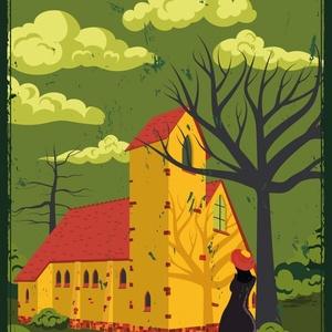 Utazó poszter - Agárdi templom , Művészet, Művészi nyomat, Elkészült a hazai kultikus helyeket bemutató utazó poszter legújabb gyöngyszeme: Agárdi református t..., Meska