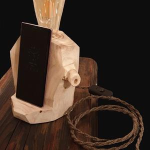 Telefontartós éjjelilámpa, Otthon & lakás, Lakberendezés, Lámpa, Asztali lámpa, Hangulatlámpa, Olvasólámpa, Famegmunkálás, Gyönyörű egzotikus, könnyű ám kemény fából készítem! Az éjjeli szekrényeden díszelegve nem csak hang..., Meska