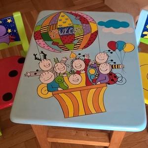 Mesefigurás asztal/szék szett, Otthon & Lakás, Bútor, Asztal, Festett tárgyak, Famegmunkálás, Egyedi ,teljes mértékben kézzel készült unisex asztalszett gyerekeknek! Fenyő ill.  nyír rétegelt le..., Meska