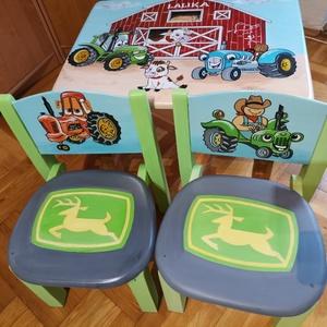 Farmos (traktoros) asztalszett gyerekeknek, Otthon & Lakás, Bútor, Asztal, Festett tárgyak, Famegmunkálás, \nEgyedi ,teljes mértékben kézzel készült asztalszett gyerekeknek! Fenyő ill. nyír rétegelt lemez ala..., Meska