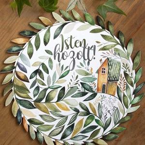 """Leveles ajtódísz, Otthon & lakás, Dekoráció, Lakberendezés, Ajtódísz, kopogtató, Gravírozás, pirográfia, Festészet, Az otthonos kis házacskával, és a növényi dekorációkkal ez az """"Isten hozott\'"""" felíratú ajtódísz reme..., Meska"""