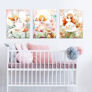 Tündérkés vászonkép sorozat, Gyerek & játék, Gyerekszoba, Baba falikép, Otthon & lakás, Festészet, Fotó, grafika, rajz, illusztráció, Tündérkés vászonkép sorozat.\n\n✨Kislányok szobájába tökéletes kiegészítő lehet ez a saját akvarell fe..., Meska