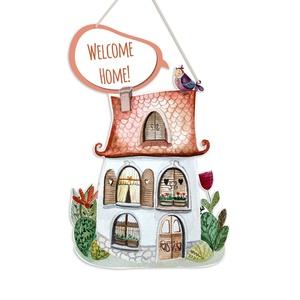Házikós névtábla, Isten hozott tábla, Ház & Kert, Otthon & Lakás, Festészet, Famegmunkálás, Babalátogatóba, születésnapra, karácsonyra kedves és különleges ajándék lehet egy Favolartos névtábl..., Meska
