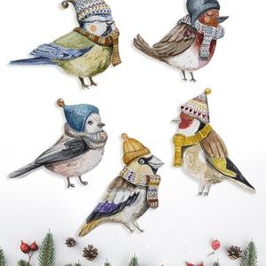 Karácsonyi dísz kollekció 5 téli madárkával, Karácsonyfadísz, Karácsony & Mikulás, Otthon & Lakás, Famegmunkálás, A madárkás karácsonyi díszeim azzal a szándékkal készültek, hogy megismertessem a gyerekekkel a körn..., Meska