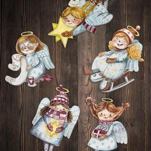 Karácsonyi dísz kollekció 5 angyalkával, Karácsonyfadísz, Karácsony & Mikulás, Otthon & Lakás, Famegmunkálás, Ez az öt kedves kis angyalka tökéletes kiegészítője lehet a karácsonyi díszítésnek. Akár karácsonyfá..., Meska