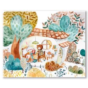 Pille mesét olvas barátainak - Nyomtatott vászonkép, Gyerek & játék, Gyerekszoba, Baba falikép, Otthon & lakás, Festészet, Fotó, grafika, rajz, illusztráció, Pille a kisnyuszi  meghívta barátait egy kis meseolvasásra. \n\n????Mérete: 41 x 33 cm.\n\nA vászon egy ..., Meska