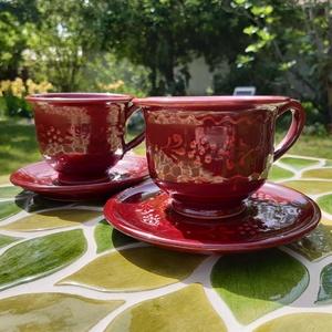 Bordó páros kávés szett, Otthon & lakás, Konyhafelszerelés, Bögre, csésze, Kerámia, Bordó mázas ,apró viragmintával díszített kávès csészék.Kézi korongozással készült vörösre égő agyag..., Meska