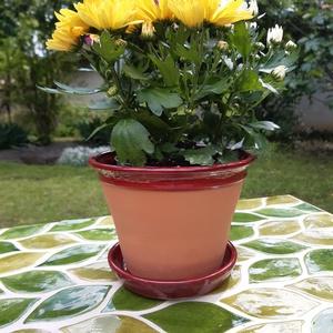 Virágcserép alátét tányérkával, Otthon & lakás, Lakberendezés, Kerti dísz, Kerámia, Hagyományos virágcserép.Szélét a tálkával azonos színűre mázoltam.Mérete 16x11cm., Meska